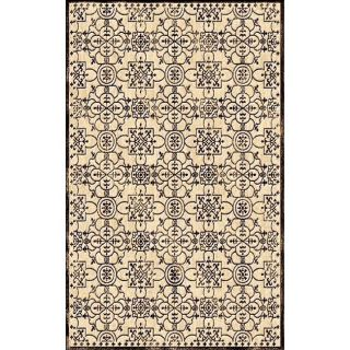 Hand carved Alexa Velvet Iron Gate Ivory Faux Silk Rug (53 x 76