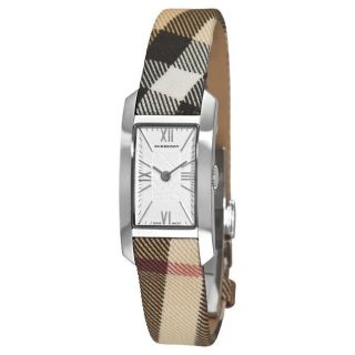 Burberry Womens Nova Check Silver Face Fabric Strap Watch