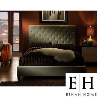ETHAN HOME Sophie Taupe Velvet Tufted Full size Platform Bed