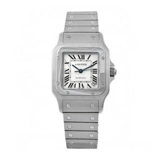 Cartier Mens Santos Stainless Steel White Dial Watch