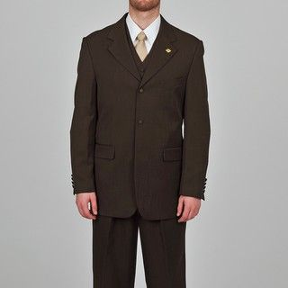Stacy Adams Mens Dark Brown 3 button Vested Suit