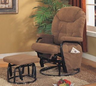 Microfiber Brown Glider Recliner / Ottoman by Coaster