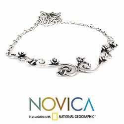 Handcrafted Sterling Silver Floral Sigh Necklace (Mexico