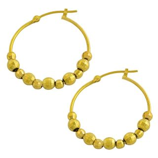 Fremada 14k Yellow Gold Diamond cut Bead Balls Hoop Earrings