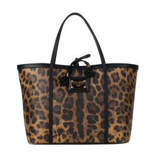 Dolce & Gabbana Tan/ Black Animal Print Tote