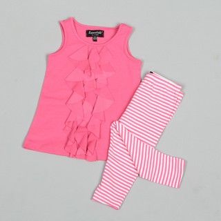 ABS Infant Girls Ruffle Front Top with Striped Leggings Set