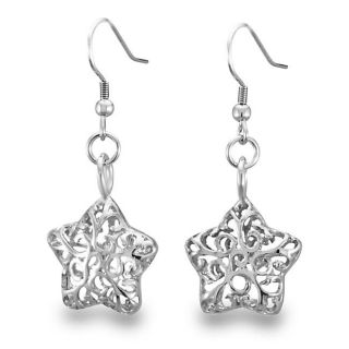 Stainless Steel Filigree Cut out Star Earrings
