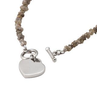 Sterling Silver Diamond Chip Heart Charm Bracelet