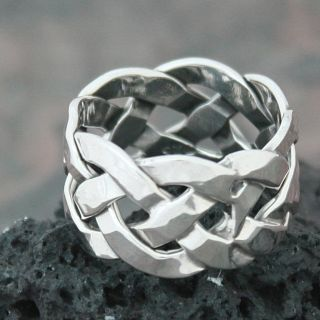 Sterling Silver Wide Celtic Knot Band (Mexico)