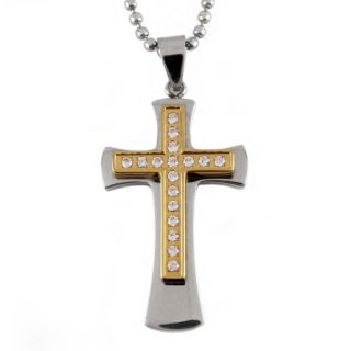 Two tone Stainless Steel Cubic Zirconia Multi layer Cross Necklace