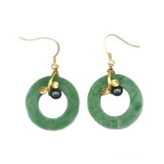 Goldtone Light Green Acrylic Band Dangle Earrings
