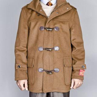 Mantoni Mens Chesnut Wool/ Cashmere Blend Toggle Coat