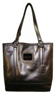 Large Calvin Klein Genuine Leather Tote Handbag (Pewter) Shoes