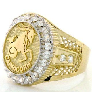 10K Solid Yellow Gold Mens Zodiac CZ Ring   Capricorn