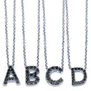 10k White Gold Black Diamond Accent Mini Initial Letter Necklace