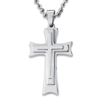 Stainless Steel Tri Level Cross Necklace