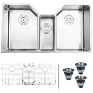 Ruvati 16 gauge Stainless Steel 34 inch Triple Bowl Undermount Kitchen