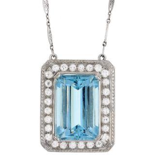 Platinum Aquamarine and 3ct TDW Diamond Estate Necklace (H, SI1