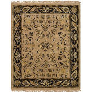 Handmade Jaipurs Camel/ Black Wool Rug (8 x 10)