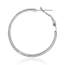 Icz Stonez Sterling Silver Cubic Zirconia Hoop Earrings