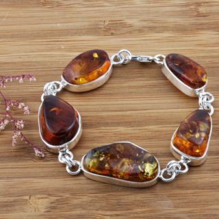Sterling Silver Cognac Baltic Amber Bracelet (Poland)
