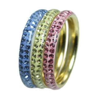 Goldplated Sterling Silver Stackable Multicolor Crystal Rings (Set of