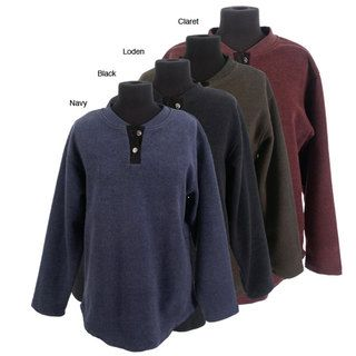 Read the Green Womens Eco friendly 2 button Henley Melange Fleece