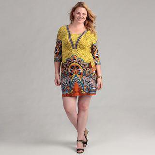 Whie Mark Womens Yellow/ Orange 3/4 sleeve Plus Size Dress