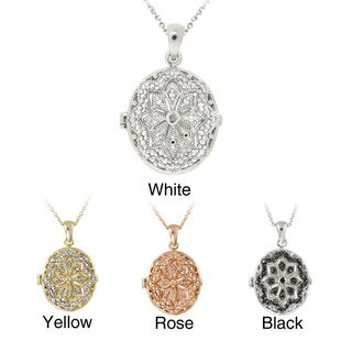 DB Designs Rhodiumplated Diamond Accent Star Design Oval Locket