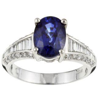 Platinum Oval Sapphire and 5/8ct TDW Diamond Ring (H, VS2 SI1) (Size 7