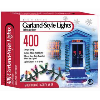 Good Tidings 78971 Garland Light 400 Multi Lighted Length Green Wire