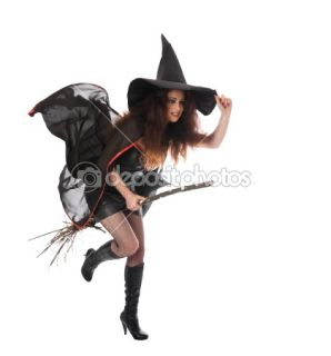 Halloween witch flying on broom  Stock Photo © Alexander Rozhenyuk