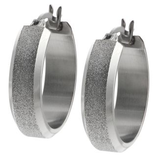 Journee Collection Stainless Steel Stipple finish Hoop Earrings
