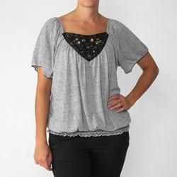 California Bloom Womens Beaded Neck Knit Top