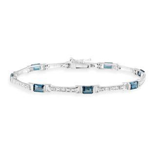 Glitzy Rocks Silver London Blue Topaz and Diamond Accent Bracelet