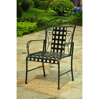 International Caravan Lattice Iron Black Lawn Chairs (Set of 2