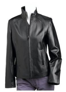 Black Rivet Womens Funnel Neck Zip Front Leather Jacket