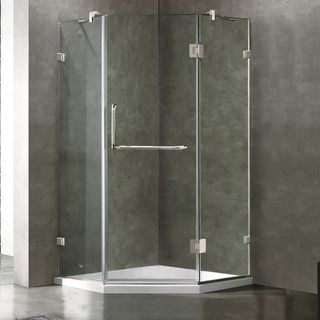 VIGO Frameless Neo Angle Clear Glass Shower Enclosure with Low Profile