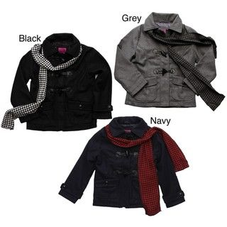 Velvet Chic Big Girls Wool Blend Toggle Peacoat with Scarf FINAL SALE