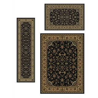Traditional Caroline Sarouk Black 3 piece Rug Set (33 x 411, 55 x 7