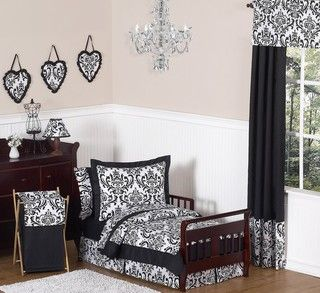 Sweet JoJo Designs Isabella Black 5 Piece Toddler Bedding Set
