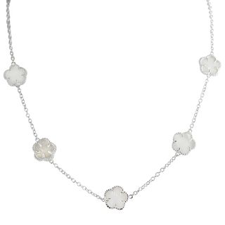 Tressa Sterling Silver White Mother of Pearl Inlay Flower Necklace