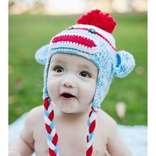 Knitnut Handmade Red Blue Sock Monkey Knit Hat