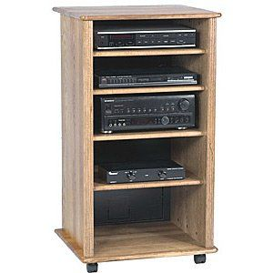 Wood Technology Solid hardwood Audio Rack Cabinet in Oak