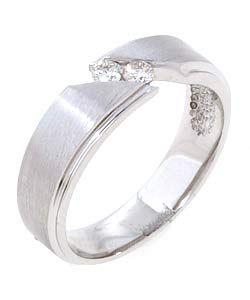 14k White Gold 1/5ct Two stone Diamond Mens Ring