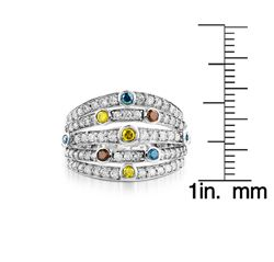 14k Gold 1ct TDW Multi colored Diamond Ring (I J, I1 I2) (Size 7