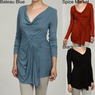 RXB Womens Drape Neck Side Ruched Top
