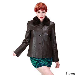 Ramonti Womens Leather Faux Fur Collar Jacket