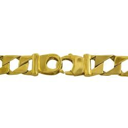 14k Yellow Gold Mens Solid Square Curb Link Bracelet
