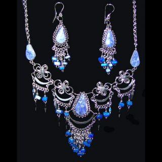 Alpaca Silver Handmade Spring Lapis Jewelry Set (Peru)